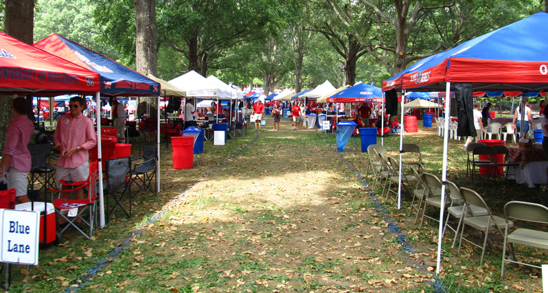 Canopy tents at Ole-Miss Tailgate