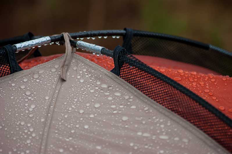 Raindrops on tent