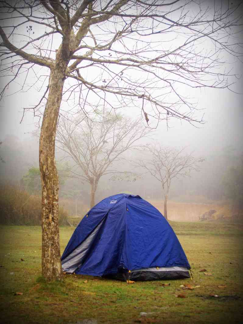 Tent on foggy, rainy day