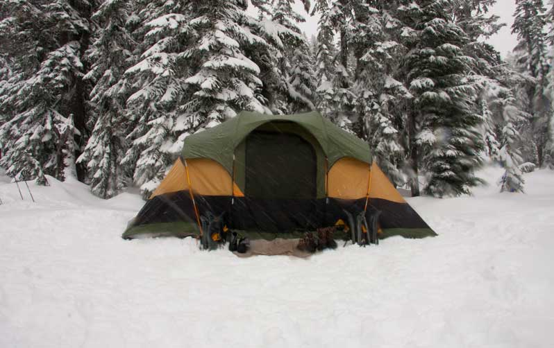 Tent in snow storm