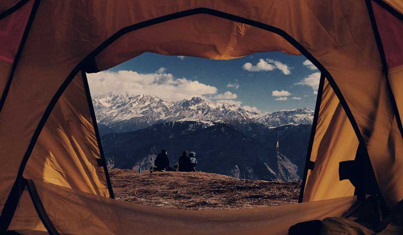 Tent opening in mountain area